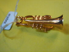 PENDENTIF TROMPETTE PLAQUE OR VINTAGE 70 NEUF/NEW TROMPET PENDENT GOLD PLATED