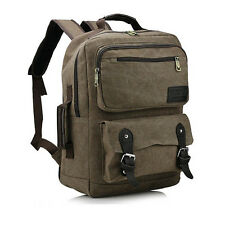 15inch Computer Men Canvas Retro Laptop Backpack Outdoor Travel Casual Student B