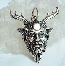 New 925 Silver Green Man Horned God Cernunnos Moon Pendant~Wicca~Pagan~Jewellery