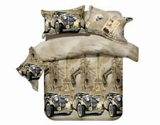 Todd Linen Classic Car EIffel Tower Queen Reversible Duvet Quilt Cover Active