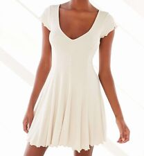 KIMCHI BLUE URBAN OUTFITTERS IVORY SHORT SLEEVE RIBBED KNIT LINED DRESS Sz S