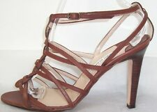 MANOLO BLAHNIK Brown Leather Twisted Straps Sandals Shoes 40  9.5