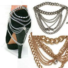 WOMEN Gold Silver Full METAL Heel Shoe Ankle Chain bracelet Jewelry Party Dress