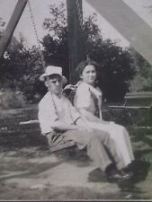 Antique Cabinet Photo-Young Couple,Man,Lady in Swing,Hat,Fashion,Country,Park