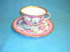 VTG Hong Sheng Floral Pattern Pink and Gold Cup and Saucer Victorian Chic