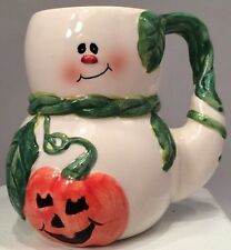 Halloween Mug White Ghost Orange Pumpkin Green Vine 16oz
