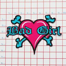 """BAD GIRL"" Heart & Bones Logo Embroidered Iron-On Patch for Jackets etc"