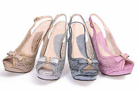 NEW WOWENS LADIES PROM STRAPPY HIGH HEELS PEEP TOE PLATFORM PARTY SHOES SIZE 3-8