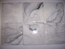 "VINTAGE WHITE GREY MARBLE PLASTIC TILE 4 1/4"" wall bathroom kitchen polystyrene"