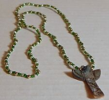VINT TOTEM EAGLE CARVED ABALONE PENDANT ON SEED BEAD PEARL NECKLACE SOUTHWESTERN