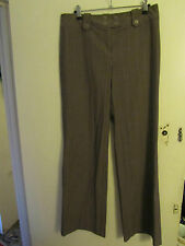 Low Rise Brown & White Pinstripe Smart Next Trousers in Size 10 L - L33