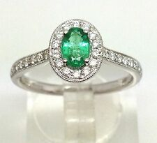 18ct White gold emerald & diamond ring Oval Halo UK size N 1/2, new, actual one