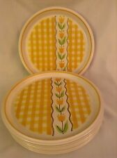 """8 Vintage Mikasa Dinner Plates 10½"""" Country Gingham Maize Yellow C7301"""