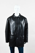 MENS Ermenegildo Zegna NWOT Black Wool Lined Leather Jacket SZ 56