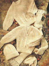 "Baby aran knitting pattern pullovers hat Mitaines écharpe boys & girls 16-30 "" 514"