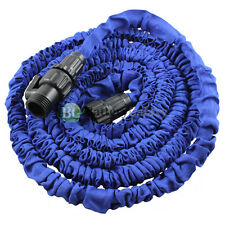 Deluxe 25 Feet 25FT Expandable Flexible Garden Lawn Water Hose Nozzle Blue
