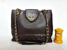 AUTH CHANEL BROWN CLASSIC LAMBSKIN LARGE TOTE SHOULDER BAG