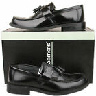 Mens New Black Leather Slip On Toogle Tassel Loafer Shoes Size 6 7 8 9 10 11 12