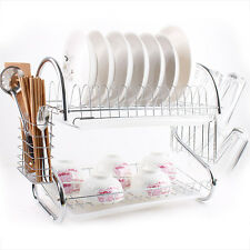 Hot Kitchen Home Dish Cup Drying Rack Holder Sink Drainer 2 Tier Dryer