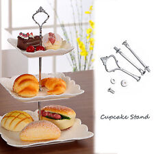 3 Tier Stainless Steel Cupcake Cake Plate Stand Handle Hardware Fitting Holder