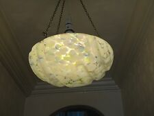 Vintage Art Deco Glass Pendant Lampshade Light Shade Opaque White Blue and Green