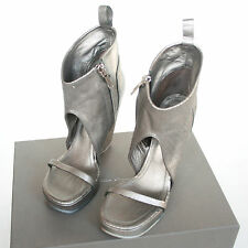 RICK OWENS $1,560 distressed silver leather zipper wedge sandal shoes 11/41 NEW