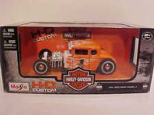 1929 Ford Model A Hot Rod Diecast Car 1:24 Maisto 7 inch Harley Davidson Orange