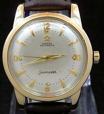 VINTAGE MEN 1952 OMEGA BUMPER AUTOMATIC 14K GOLD CAPE S-STEEL WATCH SERVICE 351