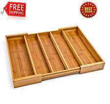 KItchen Drawer Organizer Utensil Wood Cutlery Holder Expandable Silverware Tray