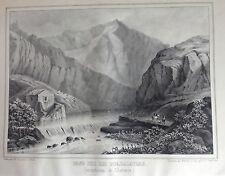 ARAGÓN, RIO GUADALAVIAR, Litografía original de Parcerisa 1839-1865