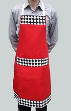 Wholesale job lot 10 brand new red checked découpé bib tabliers cafe chef cater