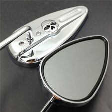 Chromed Aluminum Skull Mirrors Fit For FXST XLH Sportster Roadster XLS