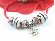European Style Red Leather Murano Glass Beads - Butterfly Bracelet