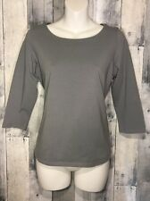 Eileen Fisher Womens Organic Cotton 3/4 Sleeve Scoop Neck Top Shirt Sz. PM
