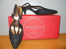 Vintage BenchCrafted 1950s Lester Black Glittter Shoes Heels Sandal Pinup Glam 7