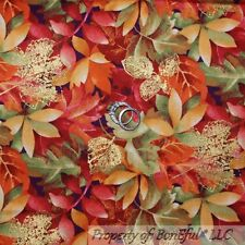 BonEful Fabric FQ Cotton Quilt Red Orange Gold VTG Fall Autumn Leaf Thanksgiving