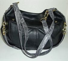 B. Makowsky Black Pebble Leather Silver Gray Reptile Croco Convertable Purse Bag
