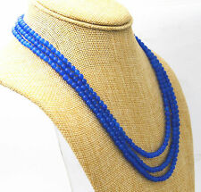 Fashion 3 rows 4 mm blue sapphire bead necklace 17-19 ""