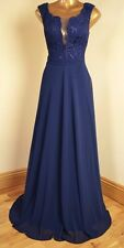 BNWT CARRIE NAVY BLUE LACE MAXI EVENING OCCASION PARTY BALLGOWN DRESS SIZE 16