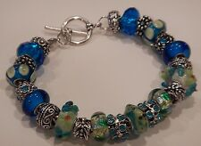 European Style Murano Glass Beads Charm Bracelet Turquoise Blue Lime Green Lizza