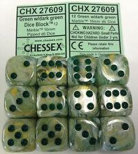 Chessex Dice d6 Set 16mm Marble Green Swirl/ Dark Green 6 Sided Die 12 CHX 27609