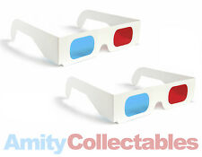 2 x 3D GLASSES RED/BLUE (CYAN) ANAGLYPH Retro for 3D, WHITE, Cardboard, 80s