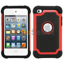 Hybrid Rugged Rubber Matte Hard Case Cover for Apple iPod Touch 4 4th Gen Red