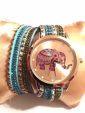 New Elephant Turquoise Wrap Around Rhinestone Rivet Watch