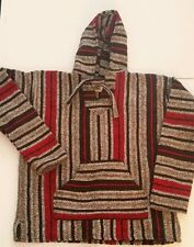 Vintage Syle Baja Hippie Acrylic Polyester Blend Hooded Pullover Poncho Striped