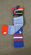 NWT 2 X PAIR UNDER ARMOUR WOMEN BLUE KNEE HIGH LOGO PERFORMANCE SOCKS SZ MD