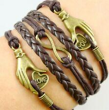 NEW Hot Infinity Love Anchor Leather Cute Charm Bracelet Bronze DIY SL199D