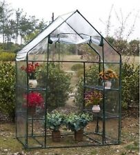 LARGE WALK IN GREENHOUSE WITH DOUBLE SHELVES PLASTIC COVER PVC GARDEN