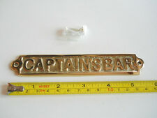 Solid Brass Captain's Bar Door Sign Wall Plaque Collectible Nautical Decor New