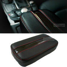 Sports Glossy Carbon Line Armrest Console Cushion Red Stitch for Universal Car